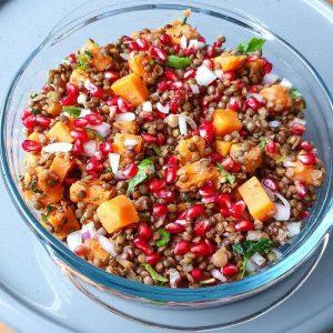 Vitaliska vegan recette salade diet grenade patate douce lentilles